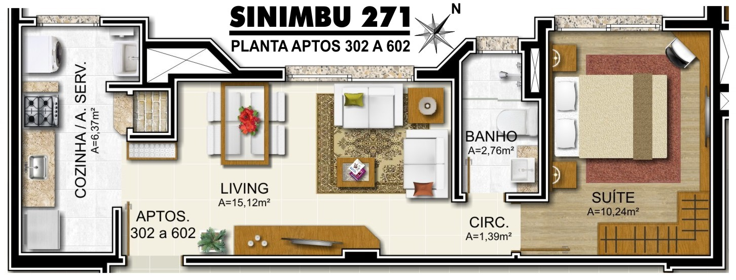 Predio Sinimbu - Planta Aptos 302 a 602 - Final